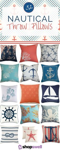 Neat Nautical home decor is hot right now. Add a little maritime flair to your space with one of these fabulous nautical throw pillows. The post Nautical home decor is hot right now. Add a . Nautical Bedroom, Coastal Bedrooms, Nautical Home, Nautical Style, Coastal Style, Nautical Curtains, Nautical Interior, Nautical Knots, Coastal Interior