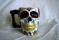 Mexican skull coffee tea cup mug
