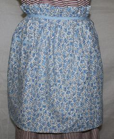 Vintage Half Apron Pretty Blue Flower Fabric by ilovevintagestuff