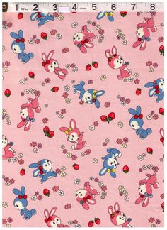 HALF YARD Yuwa - Little Bunnies, Strawberries and Flowers on PINK - Atsuko Matsuyama 30s collection - Japanese Import Fabric by fabricsupply on Etsy