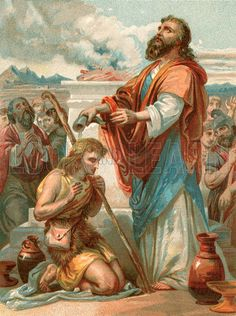 King david israel painting | Samuel anointing David King of Israel. Illustration for Welsh Bible ...