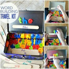 WORD BUILDING TRAVEL KIT Wow, what a brilliant idea for travel, or just a quiet activity at home. Love this! SEE IT HERE: http://iheartcraftythings.com/word-building-activity-travel-kit.html