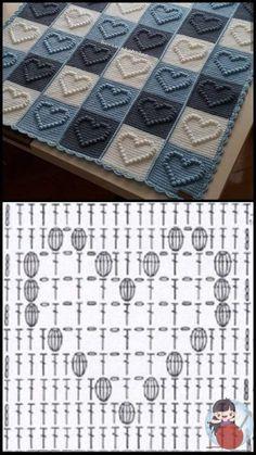 Crochet Motifs, Crochet Quilt, Granny Square Crochet Pattern, Crochet Diagram, Afghan Crochet Patterns, Crochet Squares, Baby Blanket Crochet, Crochet Stitches, Crochet Case