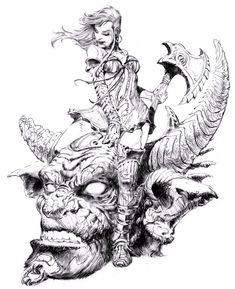 Female warrior by on deviantart pencil / linework in 2019 рисунк Art Black Love, Black And White Sketches, Comic Books Art, Comic Art, Cartoon Drawings, Art Drawings, Bd Art, Fantasy Girl, Sci Fi Art
