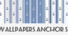 Carte da parati stampabili per case delle bambole e miniature. Piccole ancore su fondo rigato con diverse tonalità di azzurro, dispon...