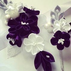 Corsage and Boutonniere - Silver, White & Dark Purple Kanzashi Flowers