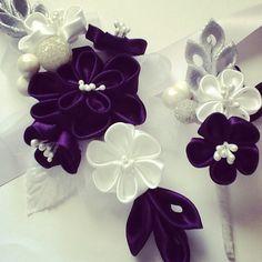 Corsage and Boutonniere - Silver, White & Dark Purple Kanzashi Flowers
