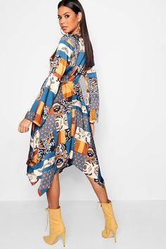 dbbae32ae4a6 Bohemian Scarf Print Midi Dress | Boohoo Spring Summer Trends, Latest Dress,  Dress Collection