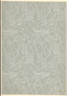 Portion of 'Prisma' wallpaper, an abstract pattern; Designed by Lucienne Day in Colour machine print, on paper; Textile Prints, Textile Patterns, Textile Design, Print Patterns, Lucienne Day, Pattern Paper, Pattern Art, Textiles Sketchbook, Ligne Claire