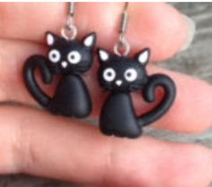 black cats earrings in clay