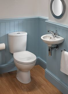 dark blue aqua paint panel toungue and groove downstairs toilet Downstairs Cloakroom, Downstairs Toilet, Upstairs Bathrooms, Bad Inspiration, Bathroom Inspiration, Bathroom Ideas, Small Bathroom Layout, Small Country Bathrooms, Small Toilet Room