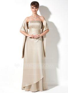 A-Line/Princess Strapless Floor-Length Satin Bridesmaid Dress With Ruffle Beading Sequins (007000982)