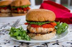 Feta-Stuffed Turkey Burgers with Arugula Pesto and Roasted Red Peppers