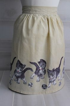 Vintage Half Apron with Kittens by theloftonbroome on Etsy