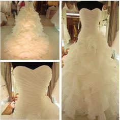 New White/Ivory Organza Wedding Dress Bridal Gown Stock Size:6 8 10 12 14 16 18