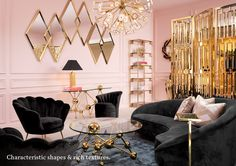 The art deco patterns were displayed in the mirrors, coffee table, chandelier, and room divider. The contrast of the pink and black is a classic art deco style. Art Deco Living Room, Art Deco Bedroom, Glam Living Room, Home Living, Luxury Living, Living Room Designs, Modern Living, Living Area, Bedroom Decor