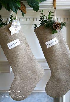 Burlap Stocking, Personalized Christmas Stocking