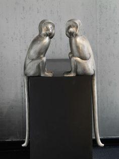 François-Xavier Lalanne Paire de Singes Alternatifs, 1992-2013 Argent H 76 x 18 x 16 cm