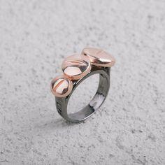 Anello Placcato Canna di Fucile con Pastiglie Oro Rosa   Life Therapy #LifeTherapy #ring #desing #jewellery #rings #MadeInItaly