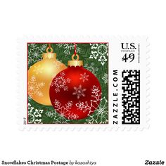 Snowflakes Christmas Postage Red and gold balls on a part of Christmas tree in snowflakes. This is a digital illustration.