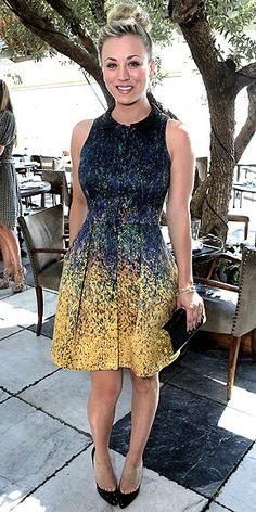KALEY CUOCO in a sleeveless McGinn dress that looks part pointillism-inspired, part splatter-paint-inspired, Kaley is pretty as an (abstract) picture at the 25 Most Powerful Stylists Luncheon in West Hollywood. She finishes the look with Jimmy Choo heels, Allia bangles and an Edie Parker clutch.