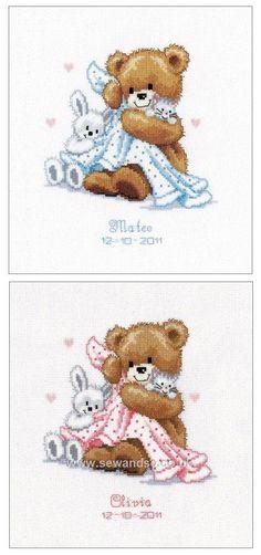 Teddy and Blanket Birth Sampler