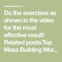Do the exercises as shown in the video for the most effective result! Related posts:Top Mass Building Workouts You Should Be Doing Nowexample triceps exerciseDo the exercises chestRead More →