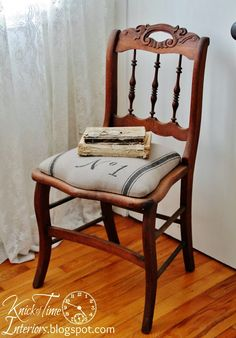 Grain Sack Typography Chair ~~by KnickofTimeInteri...