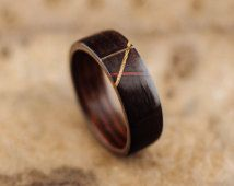 Ebony wood ring, makassar ebony bentwood ring lined with wenge and thin inalys from other wood species