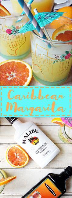 Refreshing Caribbean Margarita with Malibu Rum, Peach Schnapps, Orange Juice, and pineapple juice. www.ourmessytable.com