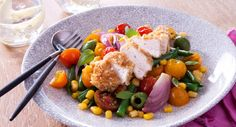 Colour up your week with this scrumptious Quinoa Chicken and Rainbow Salad by Better Homes and Gardens Australia.  #quinoa #homecook #summersalad