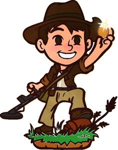 GDT Mascot - Finding a Geo Detecting Treasure Cache Coin! Metal Detecting, Geocaching, GeoDetecting.com