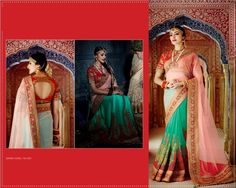 #Green & #Pink #Net #Georgette #Saree #With #Red #Blouse $180.91 www.fashionumang.com