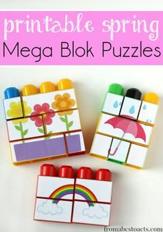 Printable Spring Themed Mega Blok Puzzles This post may contain affiliate links. For more information, please see our full disclosure policy here. We're huge fans of puzzles here in our house. Preschool Learning, In Kindergarten, Toddler Activities, Preschool Activities, Preschool Teachers, Preschool Centers, Lego Duplo, Mega Blocks, Spring Theme