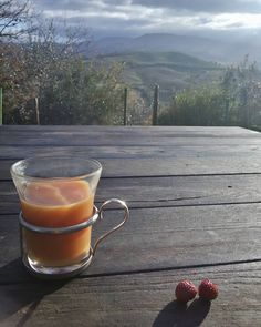 Breakfast with #strawberries (not flown in). #whereiswinter?  January 15 2016 #theviewfromthegrovetoday