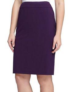 Tahari Arthur S. Levine Solid Pencil Skirt Women's Aubergine 8