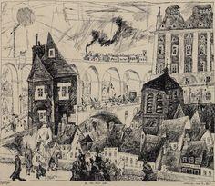 Lyonel Feininger (German-American, 1871 – On the Town Wall, 1911 Albertina, Vienna, Austria Berlin, Italian Sculptors, Funny Caricatures, Cityscape Art, Comic Pictures, Cubism, Installation Art, American, Line Art