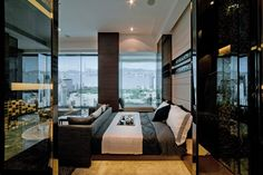 Interior, Black And White Bedroom With Glass Window: Some Dramatic Home Interior With Glossy And Contrast Inspiration