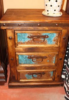 Acid-washed Copper Nightstand Pine Wood