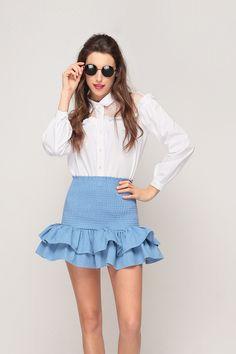 Ruched Double Ruffle Skirt // Storets.com // #STORETS #MiniSkirt