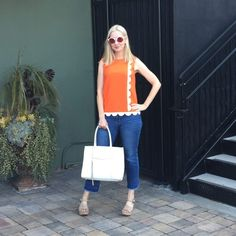 Fashion Should Be Fun - Style Over 40. great tangerine blouse perfect for the heat over summer 2017. Fashion over 40