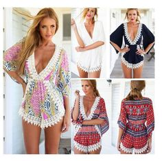Women Girl Summer V-Neck Playsuit Bodycon Party Jumpsuit Outfit Romper Dress