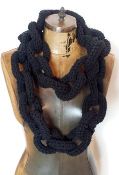 Black Crocheted Chain Link Eternity Scarf / Necklace - Extra Long or Regular Length Vegan Friendly Acrylic Oversized Chainlink Neckscarf by pinkavenger on Etsy