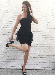 Vintage 80s Black Lace Mini Dress Strapless Peplum Ruffled Ruched XS by PopFizzVintage on Etsy
