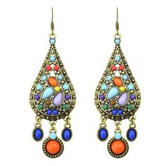 Ethnic Style Vintage Bohemian Colorful Created Gemstone Drop Earrings New 2015 Brincos For Women - V-Shop