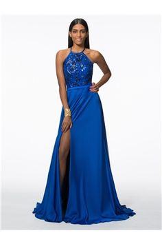 Sweep/Brush  Sequins Split-Front Summer Military Ball Chic & Modern Halter Elegant & Luxurious Dress