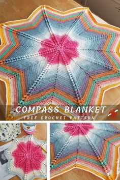 Compass Baby Blanket. Cute Crocheted Baby Blanket With Free PatternsThis project called compass is an eight-point star crochet blanket featuring the popcorn crochet stitch in the star peak Crochet Star Blanket, Crochet Star Patterns, Star Baby Blanket, Crochet Stars, Baby Afghan Crochet, Free Crochet, Crochet Roses, Crocheted Flowers, Crochet Blankets