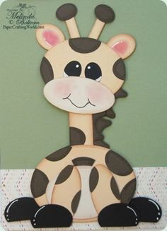 Giraffe made using Spellbinder dies - Scalloped Ovals, Scalloped Heart and Classic Ovals Dies Paper Punch Art, Punch Art Cards, Kids Cards, Baby Cards, Craft Punches, Kids Birthday Cards, Baby Kind, Cute Cards, Creative Cards