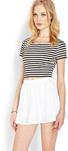 $19, White Skater Skirt: Forever 21 Eyelet Skater Skirt. Sold by Forever 21. Click for more info: https://lookastic.com/women/shop_items/27865/redirect