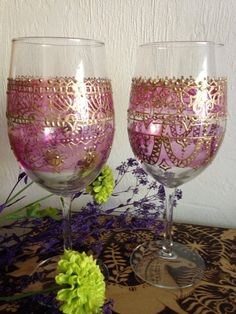 Hand painted  Gypsy Wine Glasses